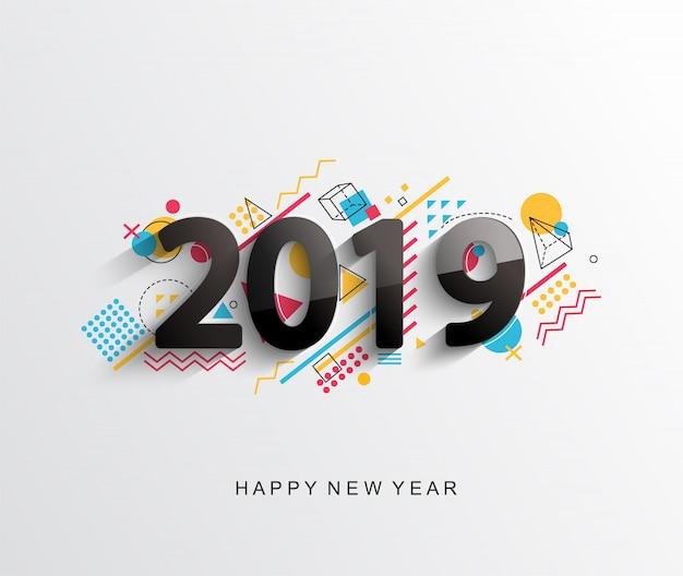 Carte de conception moderne créative nouvelle année 2019 Vecteur Premium