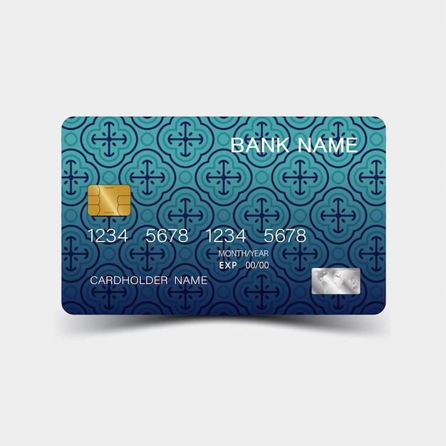 Carte De Crédit. Avec Des éléments Bleus Vecteur Premium