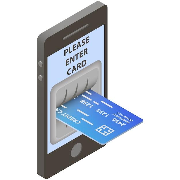 Carte de crédit en entrée de guichet automatique Vecteur Premium