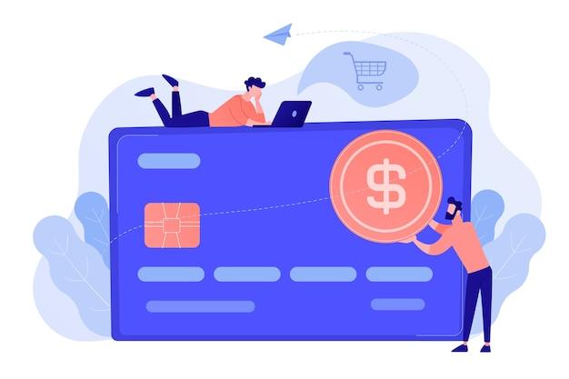 Carte de crédit avec pièce d'un dollar et utilisateurs. e-commerce et achats en ligne, opérations financières et carte plastique, paiement mobile et concept bancaire. illustration vectorielle isolée. Vecteur gratuit