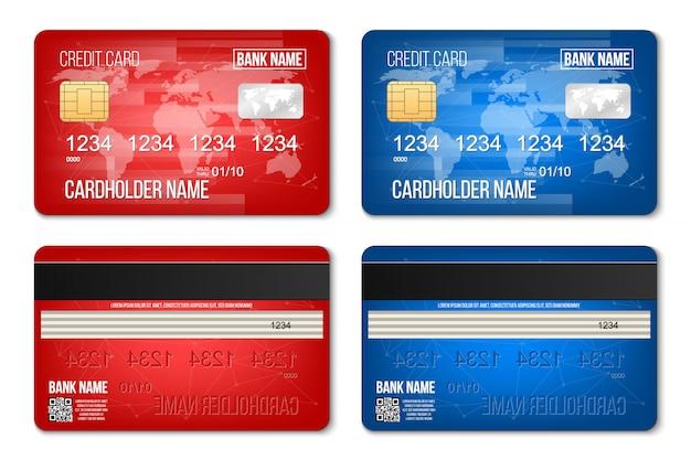 La carte de crédit en plastique de banque a placé deux côtés. Vecteur Premium