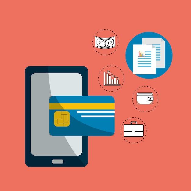 Carte de crédit de sécurité numérique smarphone Vecteur Premium