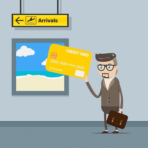 Carte de crédit d'utilisation d'homme d'affaires pour le paiement du voyage à l'aéroport Vecteur Premium