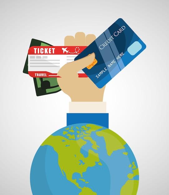 Carte de crédit de voyage ticket de voyage mondial Vecteur Premium