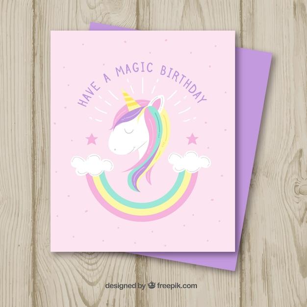 Top Carte d'anniversaire amusante avec licorne et arc-en-ciel  BJ45