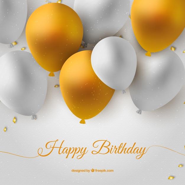 Carte d'anniversaire avec des ballons blancs et or Vecteur Premium
