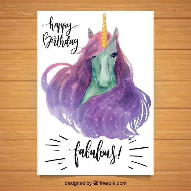 carte d 39 anniversaire avec licorne unicorn t l charger des vecteurs gratuitement. Black Bedroom Furniture Sets. Home Design Ideas