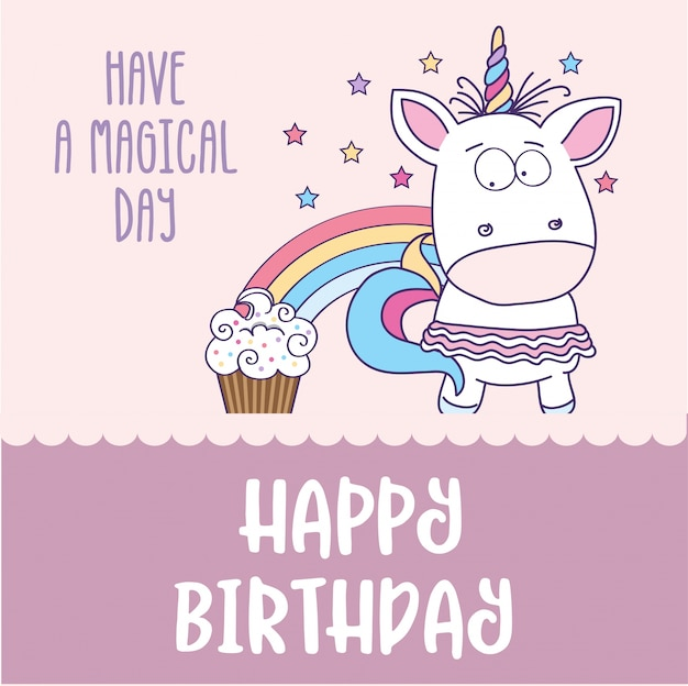 Carte de joyeux anniversaire avec charmante petite fille licorne t l charger des vecteurs premium - Carte anniversaire petite fille ...
