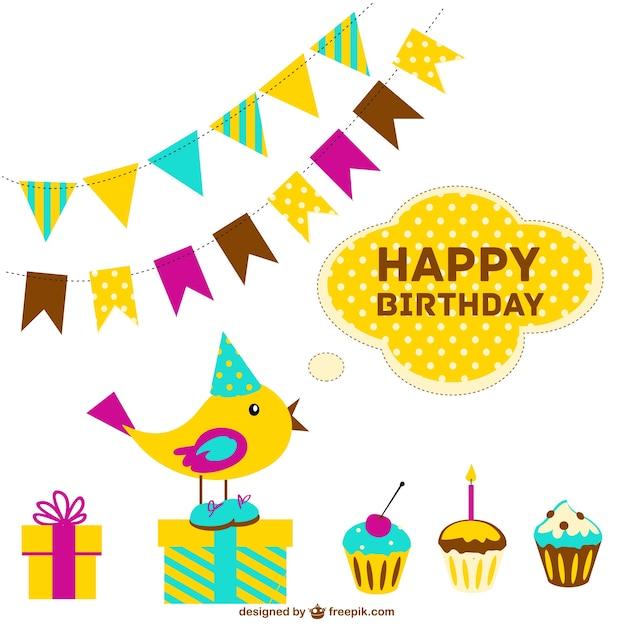 carte de joyeux anniversaire gratuit vecteur gratuit