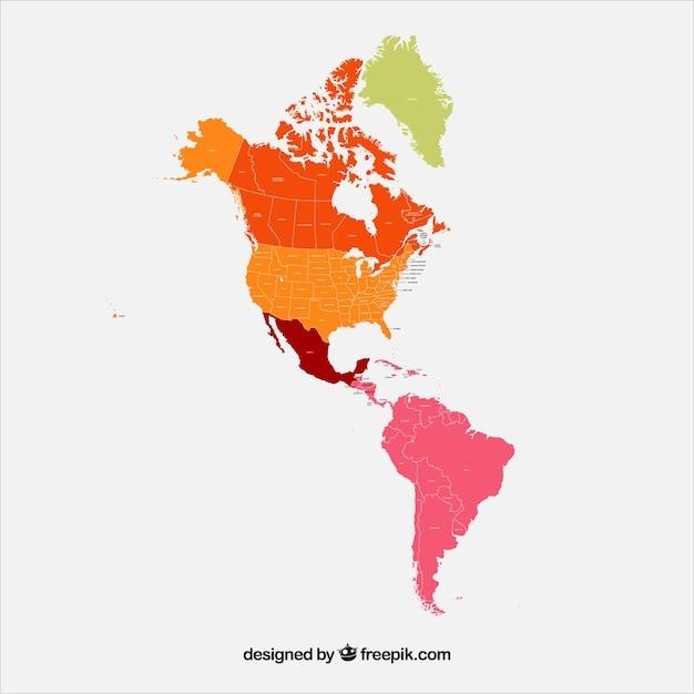 Carte de l'Amérique du Nord et du Sud Vecteur gratuit