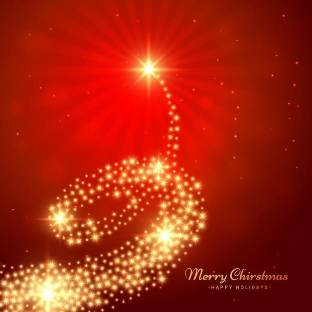 Carte de Noël arbre d'or Vecteur gratuit