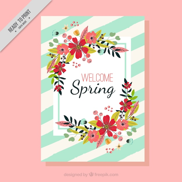 carte de printemps avec des fleurs Vecteur gratuit