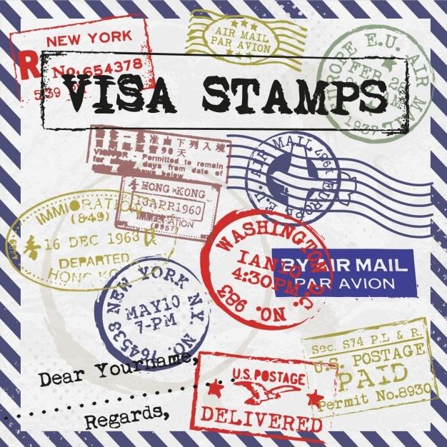 carte de timbres de visa t l charger des vecteurs gratuitement. Black Bedroom Furniture Sets. Home Design Ideas