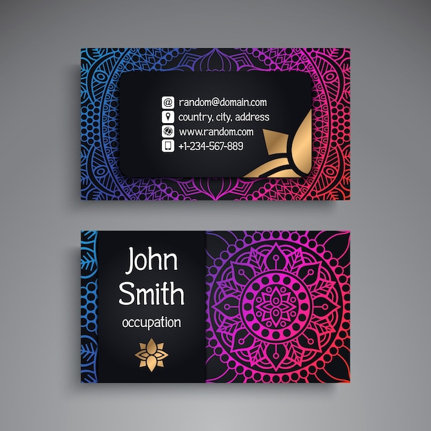 Carte De Visite Vintage Decorative Elements Ornamental Floral Business Cards Oriental Pattern Vector Illustration Islam Arabe