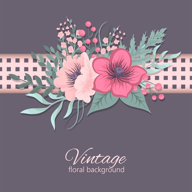 Carte de voeux avec des fleurs, aquarelle. Image de vecteur Vecteur Premium