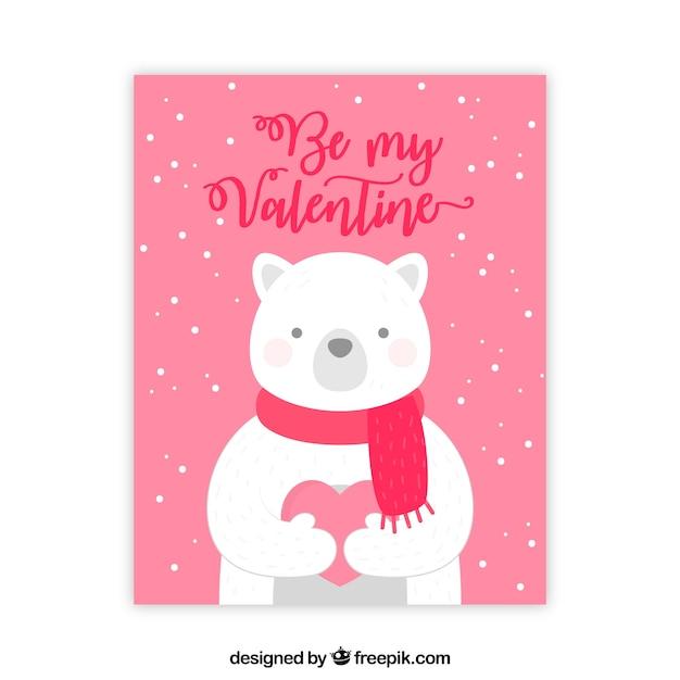 carte de voeux saint valentin avec ours polaire t l charger des vecteurs gratuitement. Black Bedroom Furniture Sets. Home Design Ideas