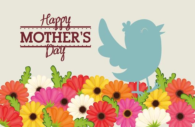 Carte de décoration heureuse fête des mères oiseaux fleurs Vecteur Premium