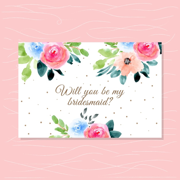 Carte de demoiselle d'honneur avec belle aquarelle florale Vecteur Premium