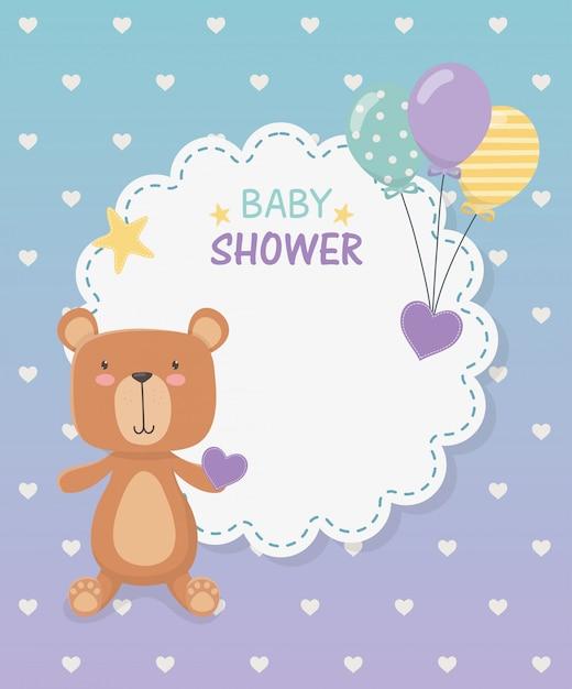 Carte de dentelle de douche de bébé avec peluche ours et ballons hélium Vecteur gratuit