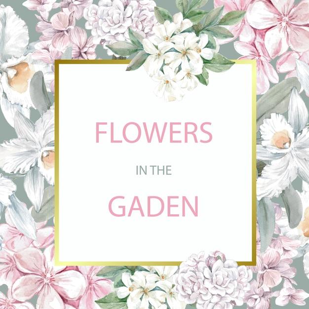 Carte de désherbage floral avec cadre Vecteur gratuit