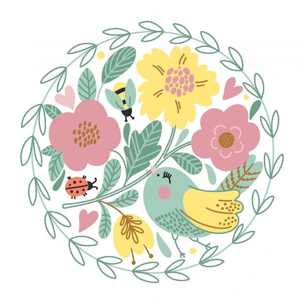 Carte de dessin animé avec oiseau mignon Vecteur Premium
