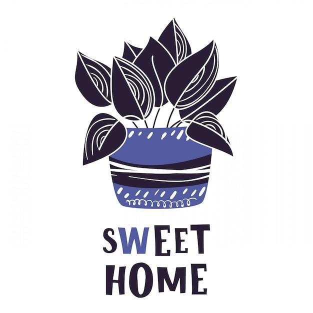 Carte de dessin animé avec plante en pot, fleur, lettrage Vecteur Premium
