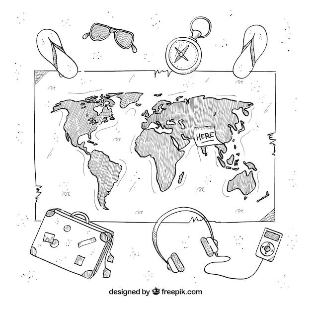 Carte dessinée avec des éléments de voyage à la main Vecteur gratuit