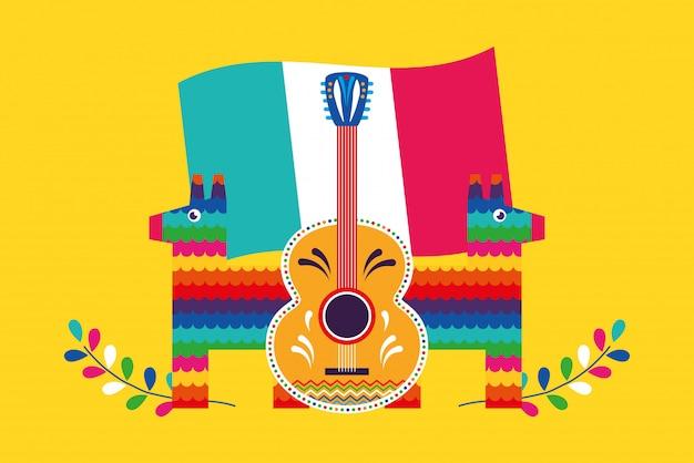 Carte de dessins animés au mexique Vecteur Premium