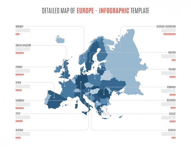 Carte Détaillée De L'europe. Modèle Pour Infographie. Vecteur Premium