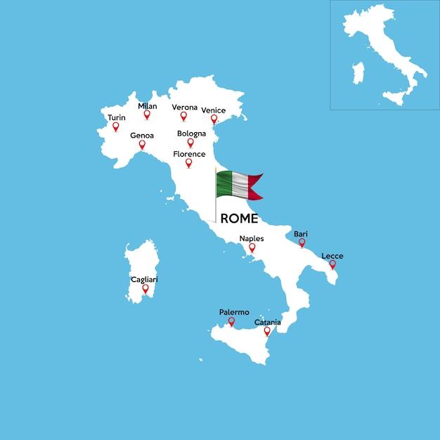 Carte détaillée de l'italie Vecteur Premium