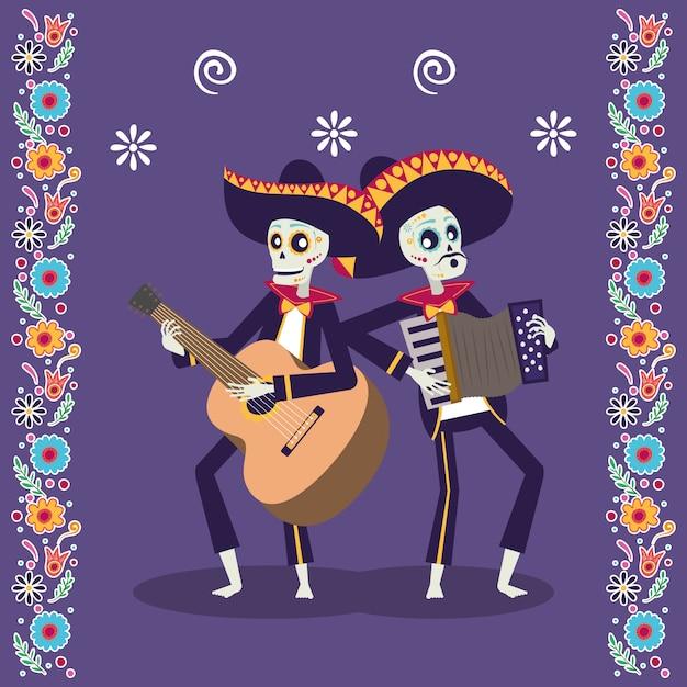 Carte dia de los muertos avec des crânes de mariachis jouant de la guitare et de l'accordéon Vecteur Premium