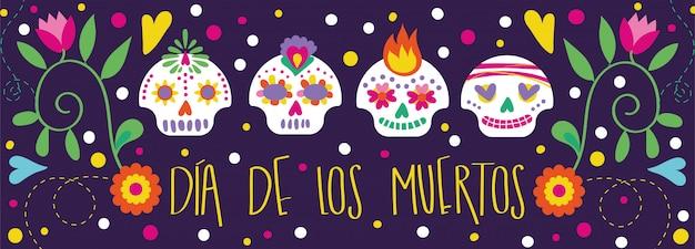 Carte dia de muertos avec calligraphie et décoration florale de crânes Vecteur gratuit