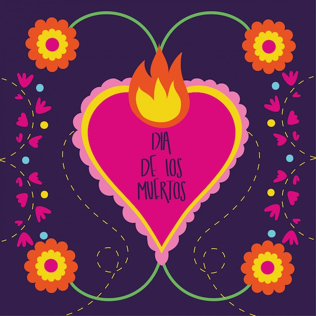 Carte dia de muertos avec coeur flamme et fleurs Vecteur gratuit