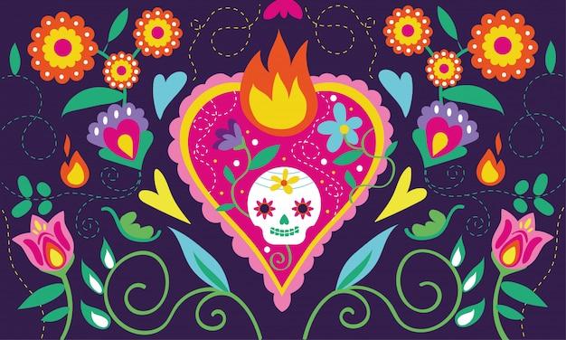 Carte dia de muertos avec crâne de coeur et décoration florale Vecteur gratuit
