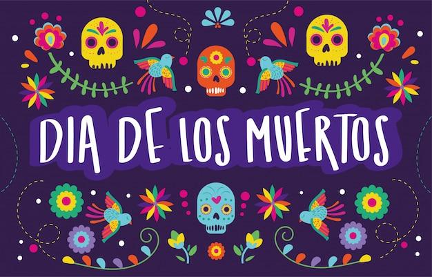 Carte dia de muertos avec décoration florale de crânes Vecteur gratuit