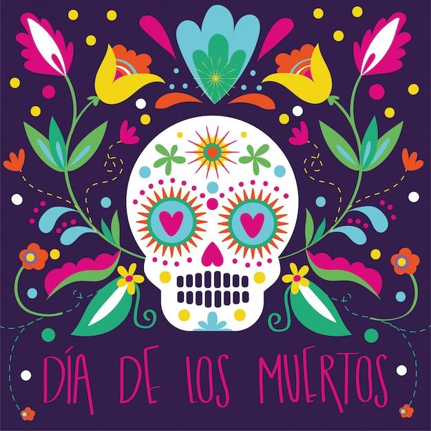 Carte dia de muertos avec tête de mort et décoration florale Vecteur gratuit