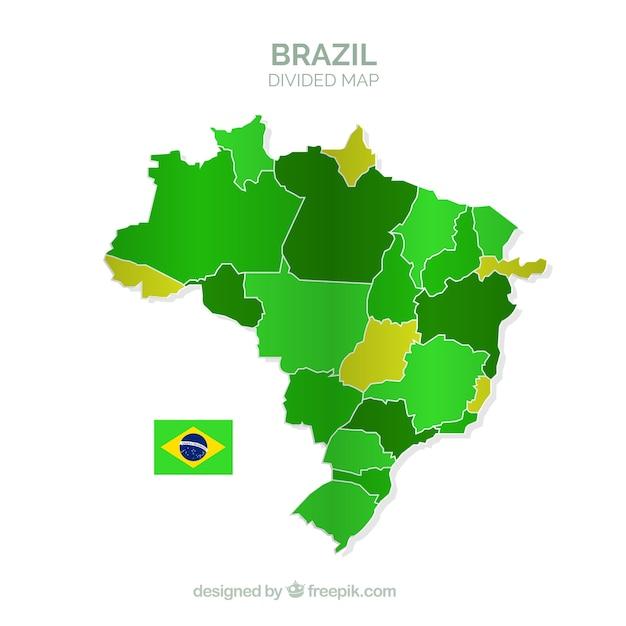 Carte Divisée Du Brésil Vecteur gratuit