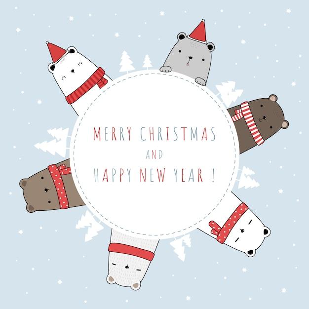 Carte De Doodle De Dessin Animé Mignon Ours Polaire Famille Joyeux Noël Et Bonne Année Vecteur Premium