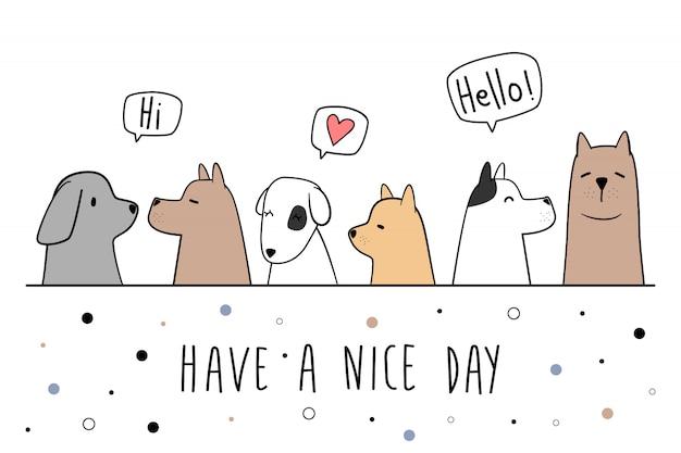 Carte de doodle dessin animé salutation chien mignon chiot Vecteur Premium