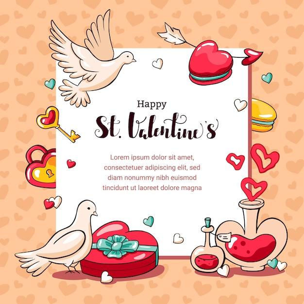 Carte Doodle Dessiné Main Pour La Saint-valentin. Vecteur Premium