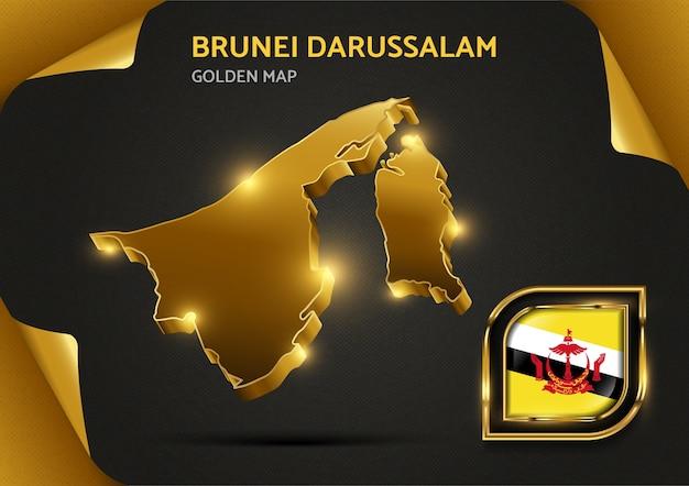 Carte Dorée De Luxe Brunei Darussalam Vecteur Premium
