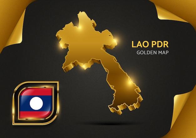 Carte Dorée De Luxe En République Démocratique Populaire Lao Vecteur Premium