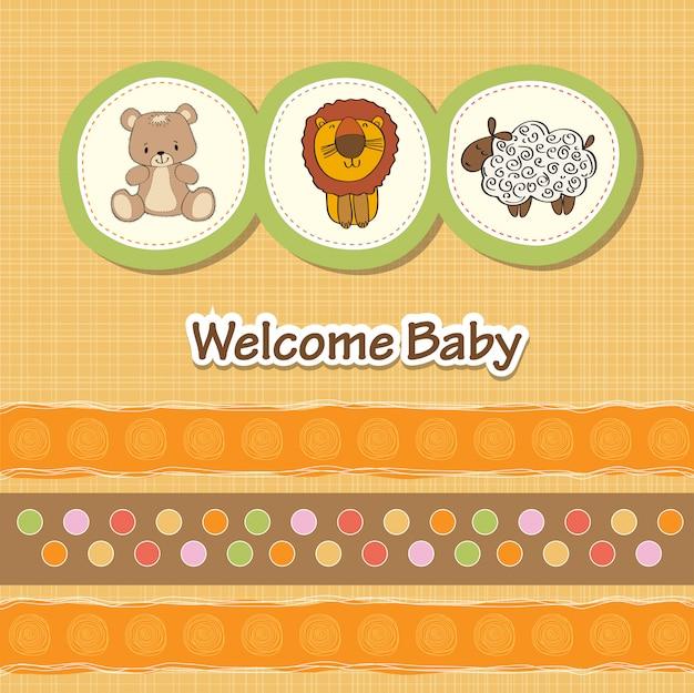 Carte De Douche De Bébé Avec Des Animaux Amusants Vecteur Premium