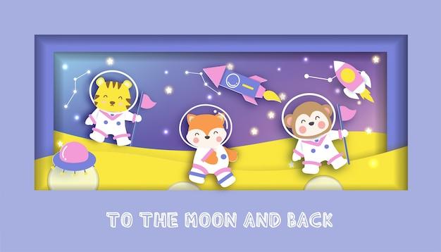 Carte De Douche De Bébé Avec Des Animaux Mignons Debout Sur La Lune. Vecteur Premium