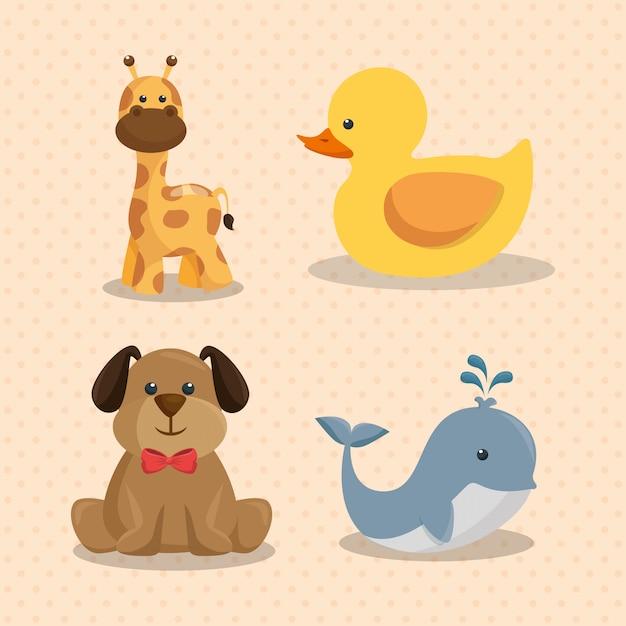 Carte de douche de bébé avec des animaux mignons Vecteur gratuit