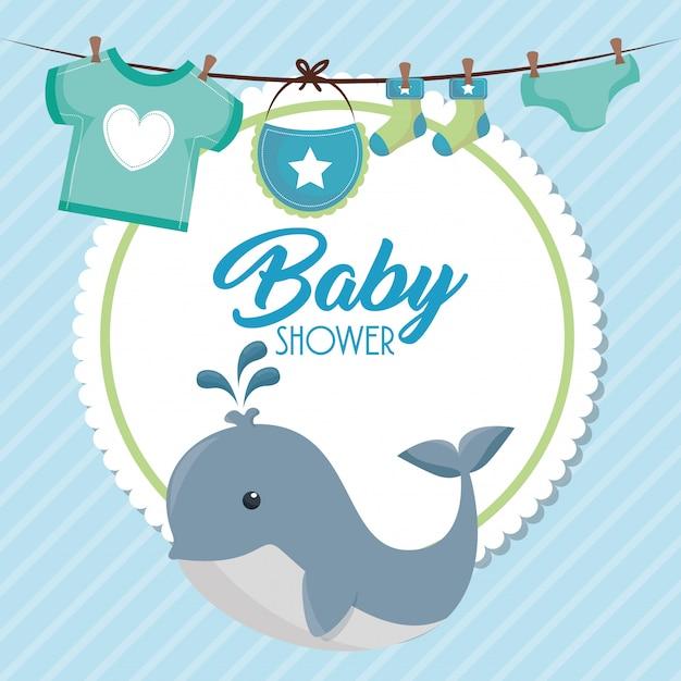 Carte de douche de bébé avec une baleine mignonne Vecteur gratuit