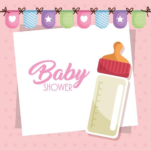 Carte de douche de bébé avec une bouteille de lait Vecteur gratuit