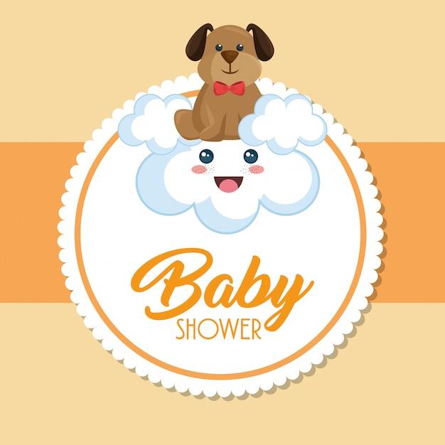 Carte de douche de bébé avec chien mignon Vecteur gratuit