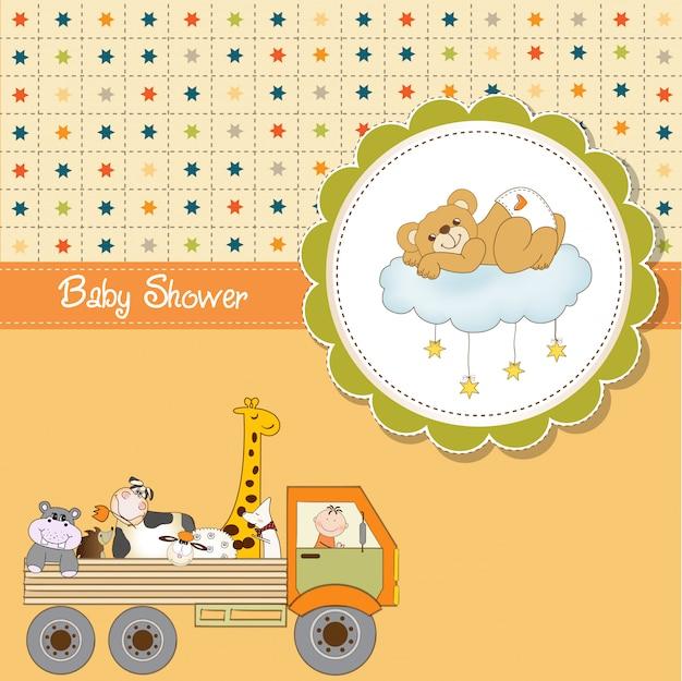 Carte de douche de bébé drôle de bande dessinée Vecteur Premium