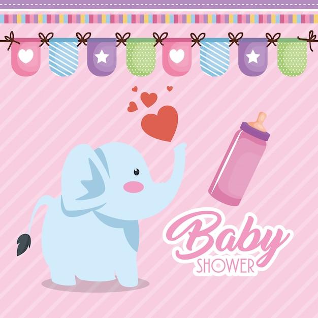 Carte de douche de bébé avec l'éléphant mignon Vecteur gratuit